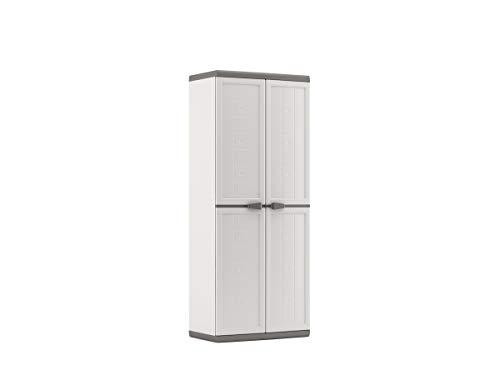 Keter Armadio Portascope Jolly Adatto sia per Interno ed Esterni, Bianco/Grigio, 68 x 39 x166 centimetri