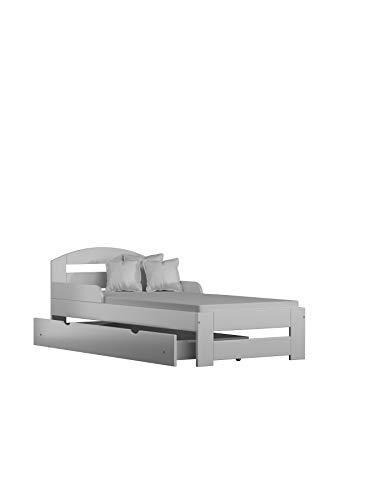 Children's Beds Home Letto Singolo in Legno massello - Kiko con cassetti Senza Materasso (190x90 + cassetti - Senza Materasso, Bianco)