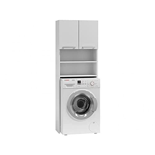 ADGO Pola - Armadio per lavatrici, armadio per un bagno, mensola per WC, vasca da bagno, lavanderia, armadietto per lavatrici, mobiletto da bagno rialzato (bianco)