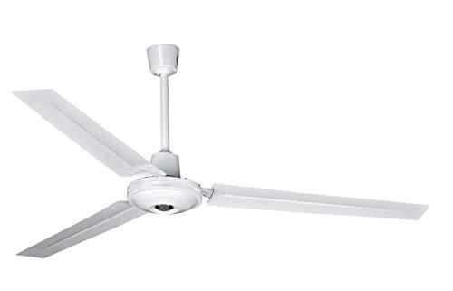 Ventilatore da soffitto con 5 velocità di intensità (regolatore da parete) - Ventilatore bianco da 140 cm di diametro 65 W - 3 pale