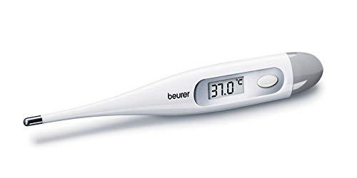 Beurer FT9 Termometro digitale e per corpo, resistente all'acqua, display LCD con campo di misura +/- ,1 ºC, segnale acustico, senza mercurio, senza vetro, colore bianco