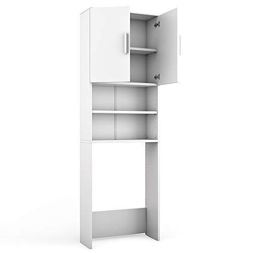 Vicco - Armadio per lavatrice, colore bianco, 190 x 64 cm, scaffale per il bagno