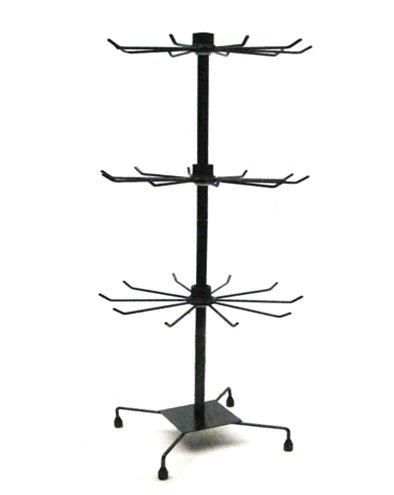 Yudu - Espositore a 3 ripiani, in metallo, 73 cm, colore: nero