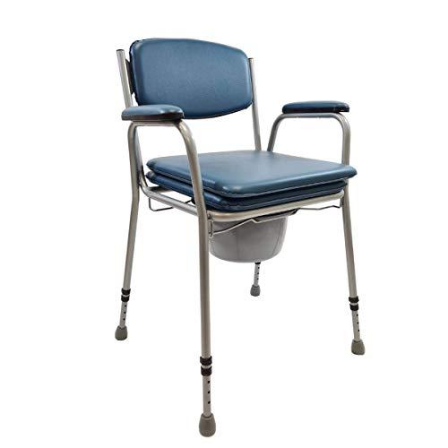 Sedia wc per Anziani disabili, Sedia wc portatile, rialzo wc - Sedia Doccia, con Struttura in Acciaio e Regolabile in Altezza.