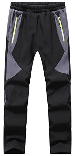 DAFENP Pantaloni Neve Trekking Bambino Impermeabili Sci Pantaloni Traspirante da Softshell Invernali Pioggia Pantaloni Escursionismo Ragazze Ragazzo KZ2001-Black-XS