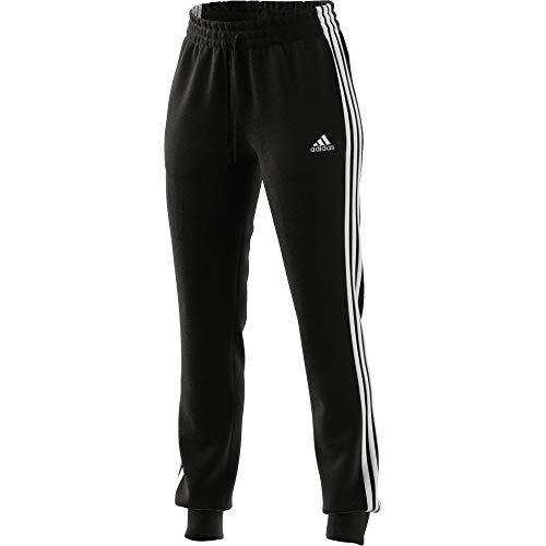 adidas Essentials Slim Tapered Cuffed, Pantaloni della Tuta Donna, Nero Bianco, S