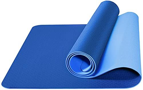 Tappetino da Yoga , Ecologico TPE Double-Sided Antiscivolo Yoga Mats Tappetino Palestra per Fitness Pilates e Ginnastica 181 cm x 61 cm x 0.6 cm (Blu Scuro-Blu)