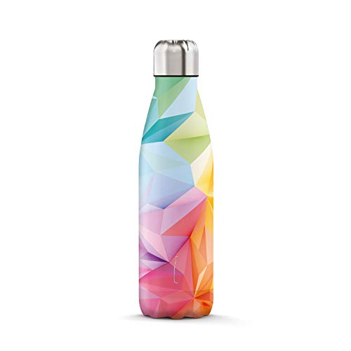 THE STEEL BOTTLE - Bottiglia Termica in Acciaio Inox, Isolamento sottovuoto a Doppia Parete, capacità 500 ml, Chiusura Ermetica, Borraccia Portatile (Art#3 Geometric Color)