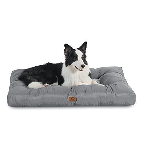 Bedsure Cuscino per Cani Taglia Grande - Cuscini per Cani Taglia Media Tappeto Cane Cuscino Cane Interno Cuscino Cuccia Cane Impermeabile 91x68x10 cm Grigio Lavabile