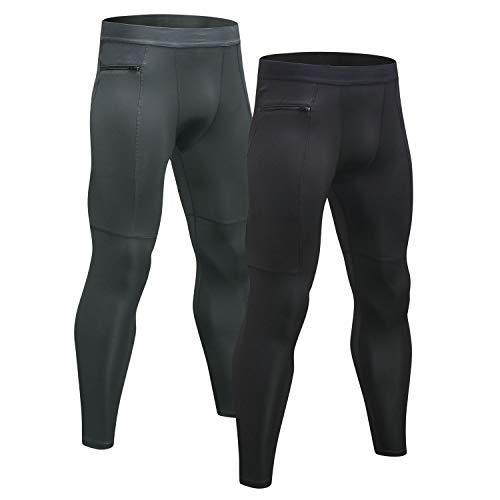 Niksa 2 Pezzi Uomo Pantaloni Tasca con Zip Fitness Abbigliamento Sportivo Compressione Leggings,Compression Pants Baselayer per Gym Jogging Running(Black Gray 1070 L)