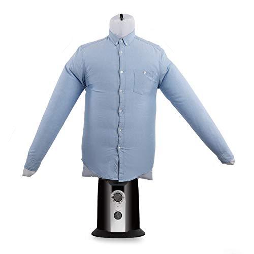 oneConcept ShirtButler Clean - Stiratrice per Camicie, Asciugatrice per Camicie, Taglia Multipla: da S a L, Fino a 65 °C, 2 in 1: Asciuga e Stira, Manichino Stirante, Nero