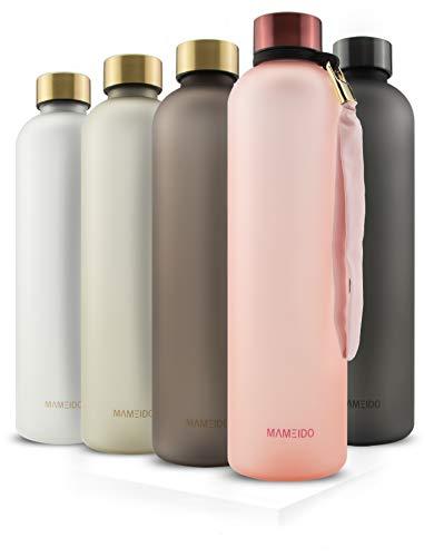 MAMEIDO Bottiglia Acqua 1 litro - Borraccia plastica Tritan a tenuta stagna, senza BPA - bottiglia motivazionale con orario per sport, bambini scuola, università, acqua detox (Flamingo Pink)
