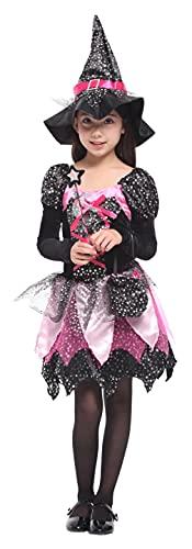 GEMVIE Costume di Halloween Carnevale Bambina Ragazza Vampira Strega Cosplay Bambina(10-12 anni)
