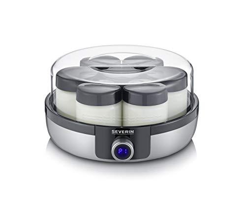 SEVERIN JG 3521, Yogurtiera con Display Digitale a LED, 7 Vasetti da 150 ml, BPA Free, Spegnimento Automatico, 5 Programmi Automatici, Temperatura e Tempo Regolabili, Yogurt Vegano e Senza Lattosio