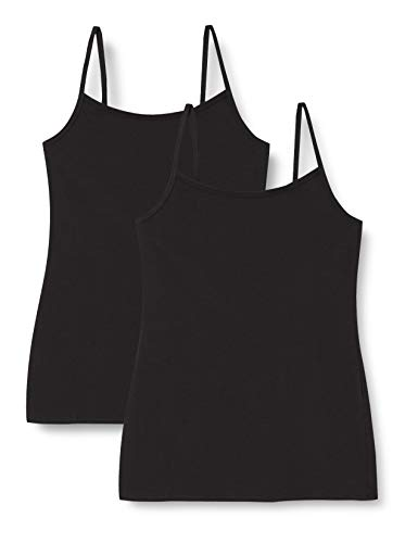 Marchio Amazon - Iris & Lilly Canotta Body Natural Donna, Pacco da 2, 2 x Nero, M, Label: M