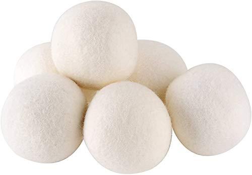 Set di 6 sfere per asciugatrice per asciugabiancheria, ammorbidente naturale, cura della lana di pecora premium, ecologico, risparmio di tempo e costi, sfere per asciugatrice per asciugabiancheria