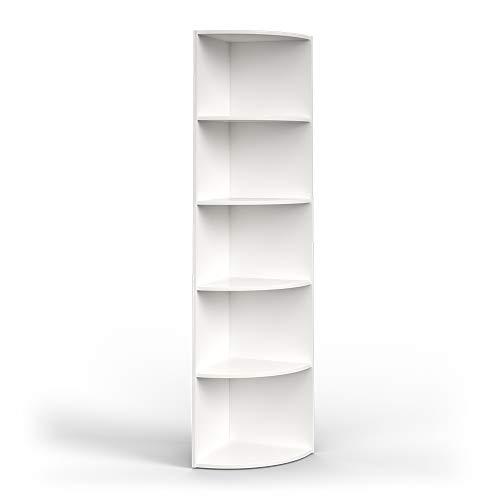 Vicco Scaffale angolare Libreria Bianco 5 scomparti Scaffalatura bagno