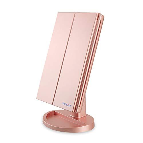 WEILY Specchio per Il Trucco con Luce 1x / 2X / 3X Trifold ingrandente con 21 LED Touch Screen Luci e Ricarica USB, Supporto Regolabile a 180 Gradi per Specchio cosmetico per Il Trucco - Oro Rosa
