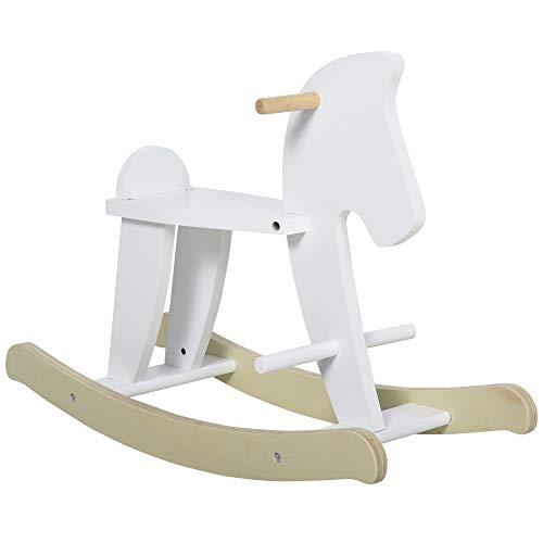 homcom Cavallo a Dondolo per Bambini 3-6 Anni, Design Classico in Legno con Maniglie e Poggiapiedi, 68x26.5x48cm, Bianco