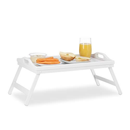 Relaxdays Vassoio da Letto in Bambù, Pieghevole con Manici, Bordo Rialzato, per Colazione, HxLxP: 22x61,5x30 cm, Bianco