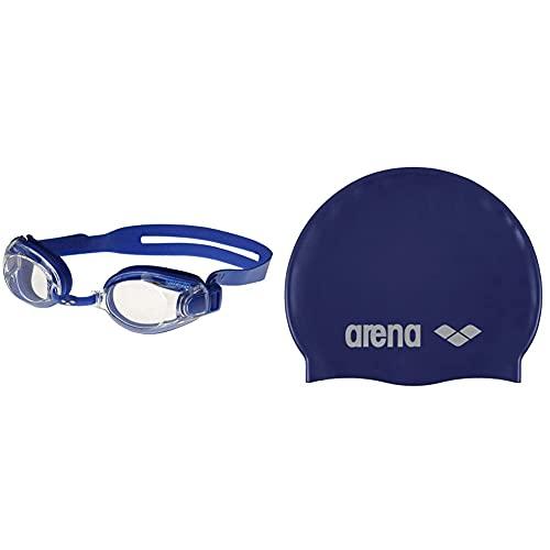 ARENA Zoox-Fit, Occhialini Unisex Adulto, Blu (Blue/Clear/Blue), Taglia Unica & Classic Silicone, Cuffia Unisex Adulto, Blu (Denim/Silver), Taglia Unica