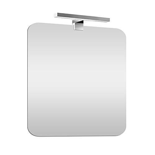 Specchio bagno con luce Led 60x90 cm, installazione reversibile, lampada 30 cm a risparmio INCLUSA (Luce Naturale)