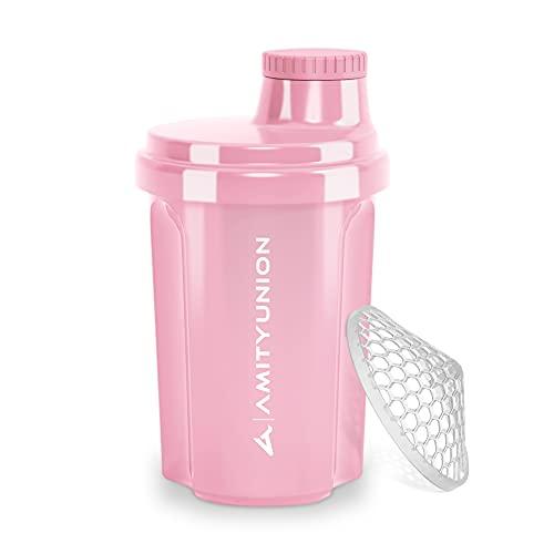 Shaker per proteine 300 ml 'Heaven' a prova di perdite, senza BPA con setaccio cliccabile e scala per frullati cremosi di siero di latte, shaker per proteine, originale in Rosa corallo