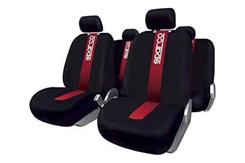 Sparco SPC1013 Set Coprisedili Anteriori/Posteriori, Classic, 100% Poliestere, Compatibile con Airbag, Rosso