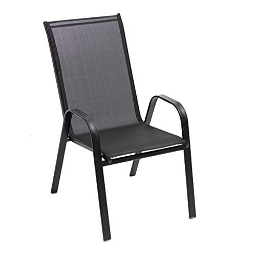 Sedie da Giardino, Sedie da Esterno per Giardino, Terrazza, Balcone, Veranda, Piscina, in Metallo e PVC, Sedie Impilabili, Colore Nero, 2 Pezzi