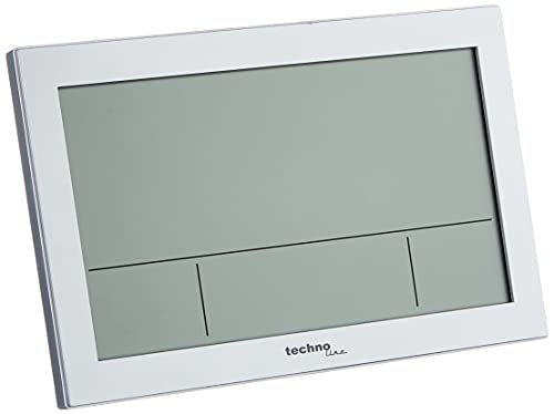 Technoline WS8016 WS 8016 - Orologio da parete radiocontrollato con indicatore di temperatura, in plastica, colore: argento, 225 x 143 x 24 mm