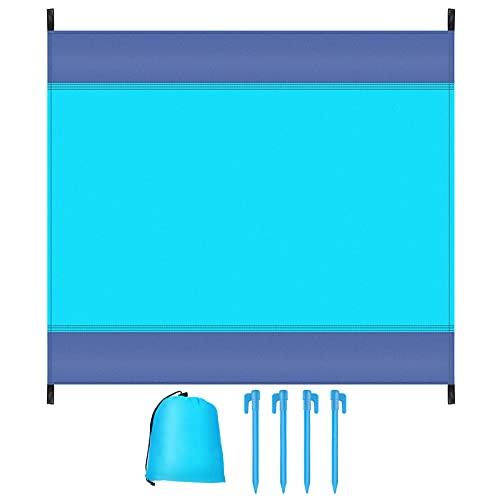 Coperta da Spiaggia, Portatile Extra Grande 210 x 200cm Tappetino da Spiaggia, Coperta da Picnic Impermeabile, Antisabbia, 4 Chiodi di Fissaggio, per Spiaggia, Erba, Escursionismo, Campeggio, Giardino