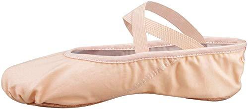 Scarpette da danza, da mezza punta, in tela, suola spezzata, varie misure per bambini e adulti rosa EU 27