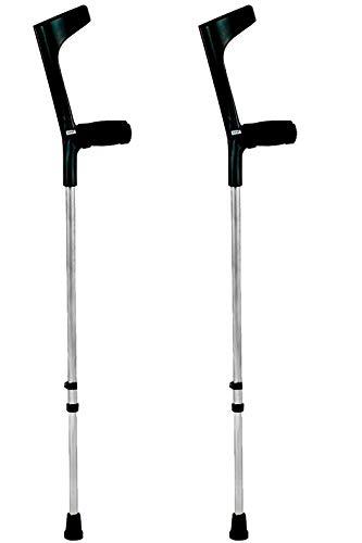 KMINA - Stampelle Ortopediche Regolabili (2 unità), Stampelle Canadesi, Stampelle Ortopediche, Stampella Ortopedica Regolabile, Stampelle antiscivolo, COMFORT BASIC Nero.