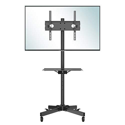 BONTEC Supporto TV da Pavimento con Ruote Carrello, Staffa Porta Mobile Supporto per Schermi 23'-60' Plasma/LCD/LED, Con portata max. 25 kg