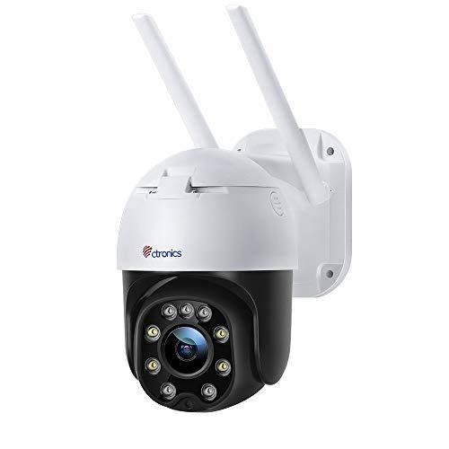 Telecamera wifi esterno con Visione Notturna a Colori, Ctronics 1080p PTZ Zoom Digitale IP Videocamera di Sorveglianza con Pan 355° e Tilt 90°, Auto Tracking, Rilevazione Umana, Audio Bidirezionale