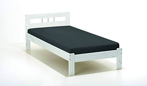 Inter Link Single Bed in Varnished Solid Pine (without slatted base), White, 90x190 cm