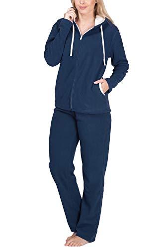 SLOUCHER - Tuta in Pile Tuta da casa Tuta per Tempo Libero da Donna, Colore:Blu grigiastro, Größe Textil:40-42