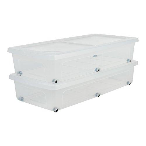 Amazon Basics, Set di 2 scatole sotto il letto, 35 L, con ruote, trasparente, camera da letto, Modular Clear Underbed MCB-UB, Trasparente