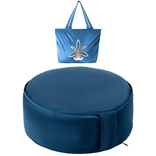Nolavea Cuscino da Meditazione Zafu Yoga - Cuscino da Pavimento Blu per Praticare la Meditazione - Accessori Yoga Donna - Cuscino Meditazione Blu in Grano Saraceno con Profumo per Yoga