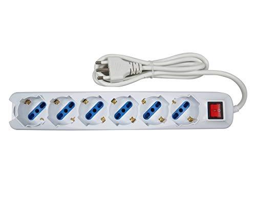 Ciabatta Multipresa Elettrica Con 6 Posti Schuko Con Interruttore Per Accensione
