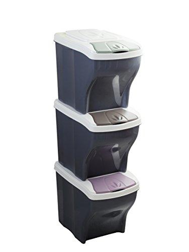 Bama Poker Tris - Pattumiere per la Raccolta differenziata, Modulare, 20 L, Colori assortiti, 28 x 40 x 31 cm, Set di 3 contenitori
