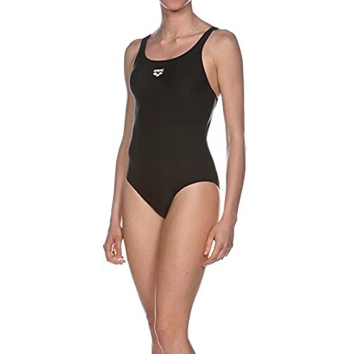 ARENA Dynamo Costume Intero Donna, Costume da Bagno Sportivo in Tessuto MaxFit ad Asciugatura Rapida Resistente a Cloro e Sale, Protezione UV UPF 50+, 46 , Nero (Black)