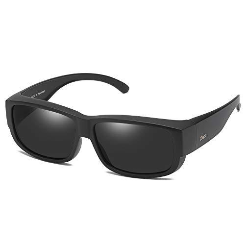 DUCO Sovraocchiali da sole Occhiali da sole sovrapponibili con protezione UV400 Polarizzati Adattamento sopra i bicchieri 8956 (Nero)