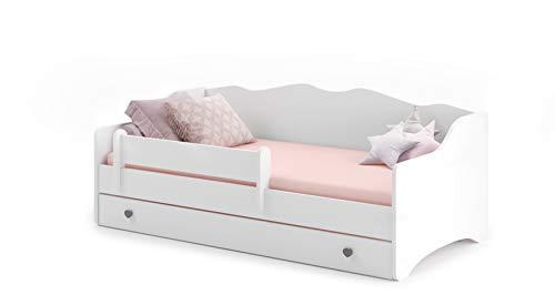 Letto per bambini bianchi'Emma' 80x160 con un materasso + telaio + cassetto