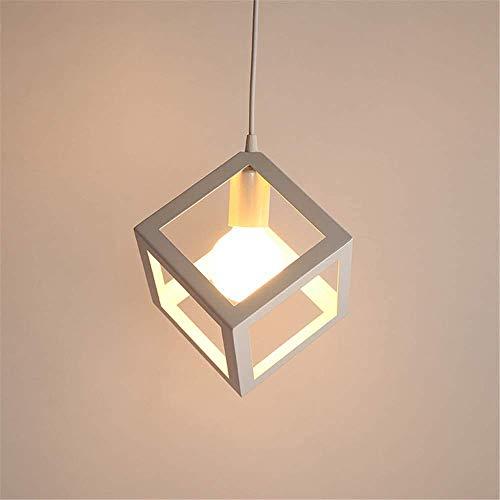 Lampada a sospensione Vintage industriale, cubo creativo battuto lampadario in ferro adatto per sala da pranzo e un da cucina, E27, lampadina non inclusa … (cubo)