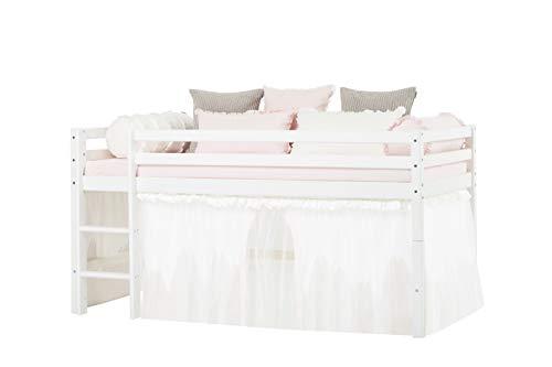 Hoppekids Winter Wonderland - Tende in cotone con tulle per letti a castello e mezzaluna, 90 x 200 cm