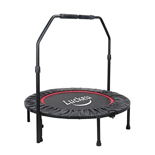 luckeu Trampolino Elastico, Ø101cm Trampolino Fitness Pieghevole Regolabile in Altezza, per Allenamento Interno/Esterno, Supporta 150kg