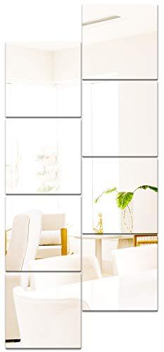 JMITHA 8 Pezzi Specchi Adesivi da Parete, 20.5x20.5cm Piastrelle a Specchio Acrilico Adesivi da Parete Decorazione Murale, Camper Lo Specchio Murale Decorazioni per Interni Non Vetro Specchi