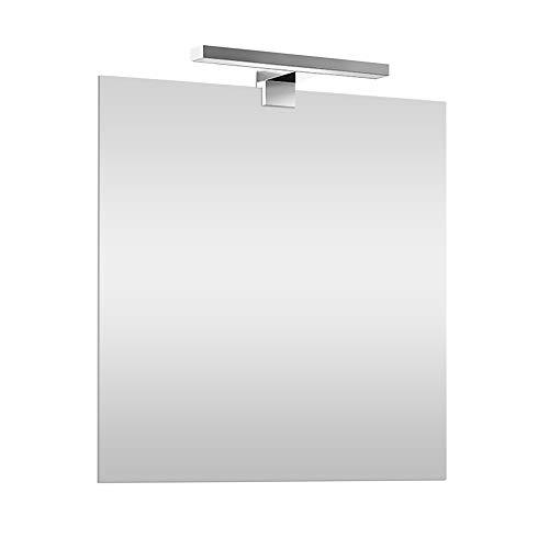 Specchio con Lampada LED Reversibile, COMPLETA di luce LED cromata da 30 cm a risparmio energetico (Luce Naturale, 60x80 Reversibile)