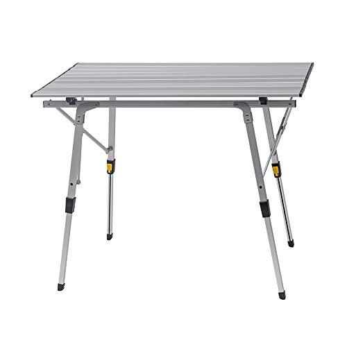 WOLTU CPT8129sb Tavolo da Campeggio Picnic Giardino Pieghevole Portatile Altezza Regolabile in Alluminio